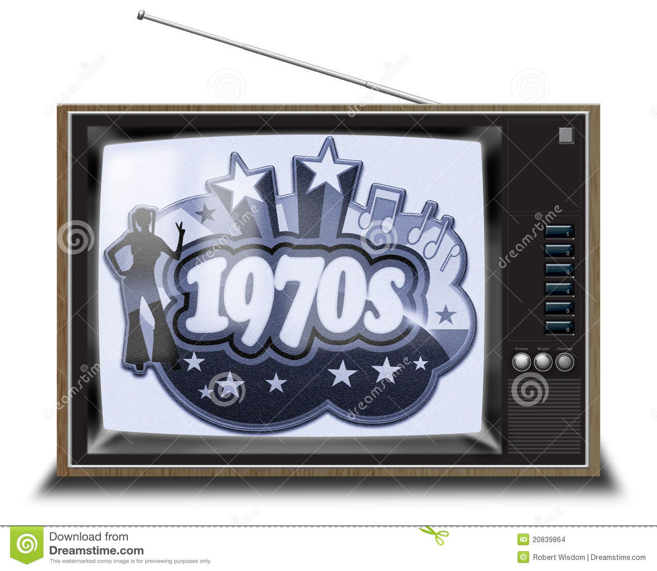 Black and white tv stock illustration image of buttons - Television anos 70 ...