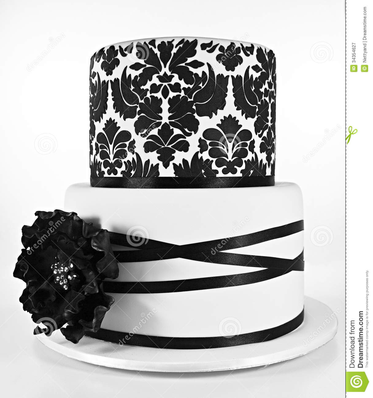 Black And White Two Tiered Cake Royalty Free Stock
