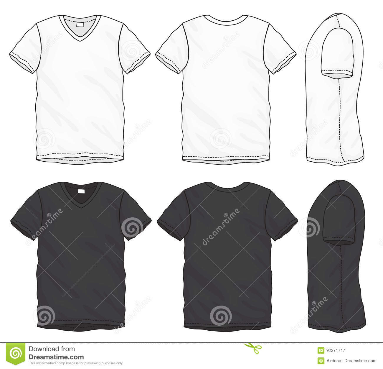 32e74aad Vector illustration of black and white short sleeved v-neck t-shirt,  isolated front and back design template for men