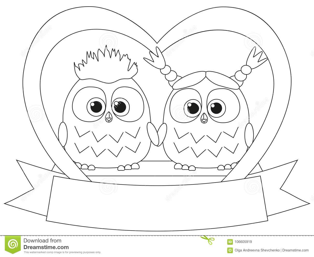 Black and white valentine day poster with an owl couple
