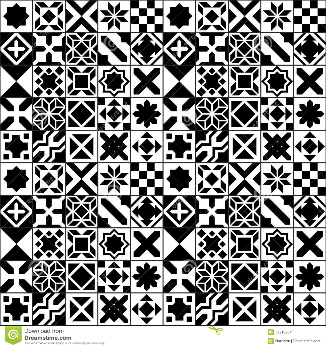 Black And White Various Moroccan Tiles Seamless Pattern