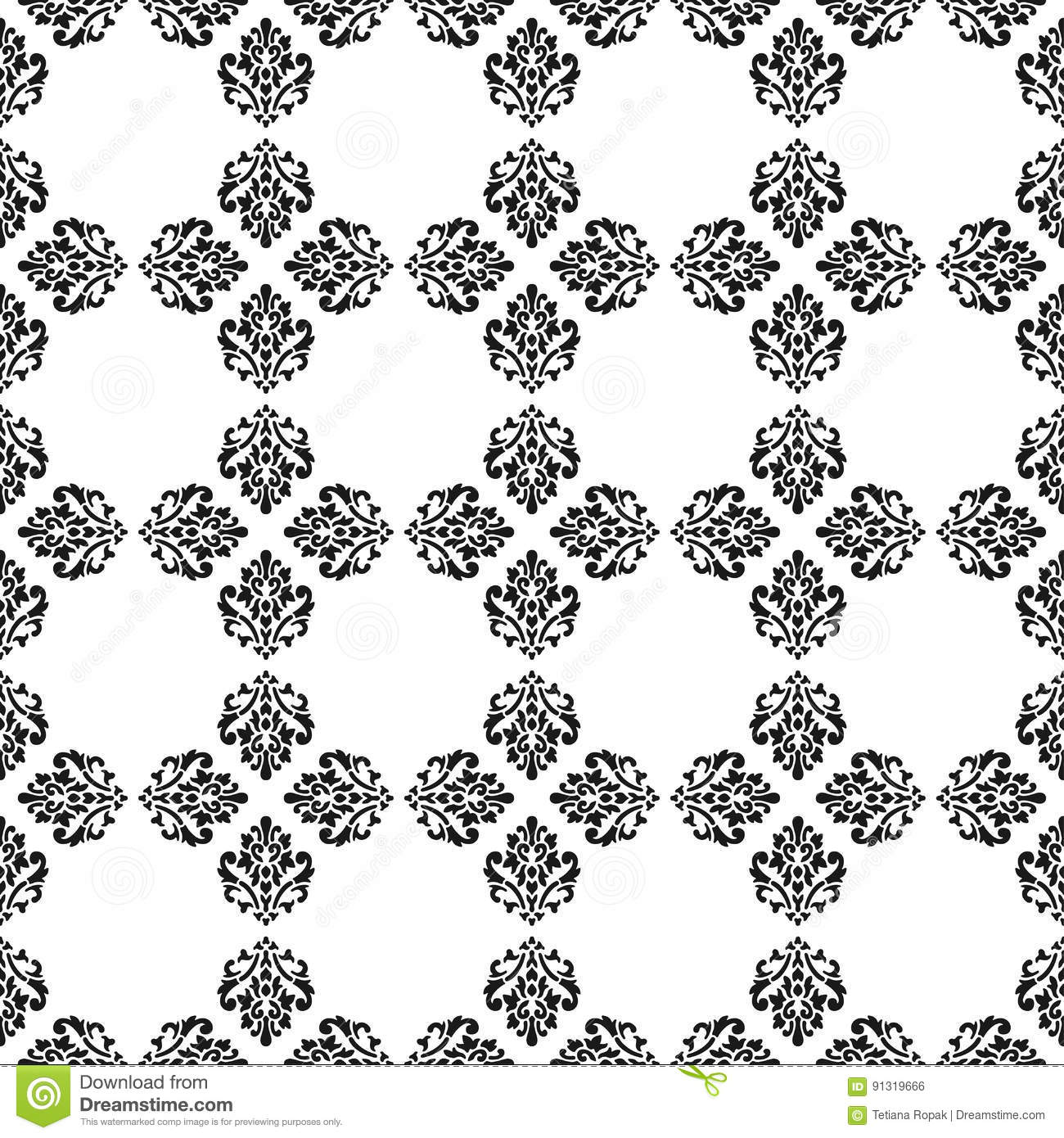 Black And White Vector Background Beautiful Queen Seamless Pattern