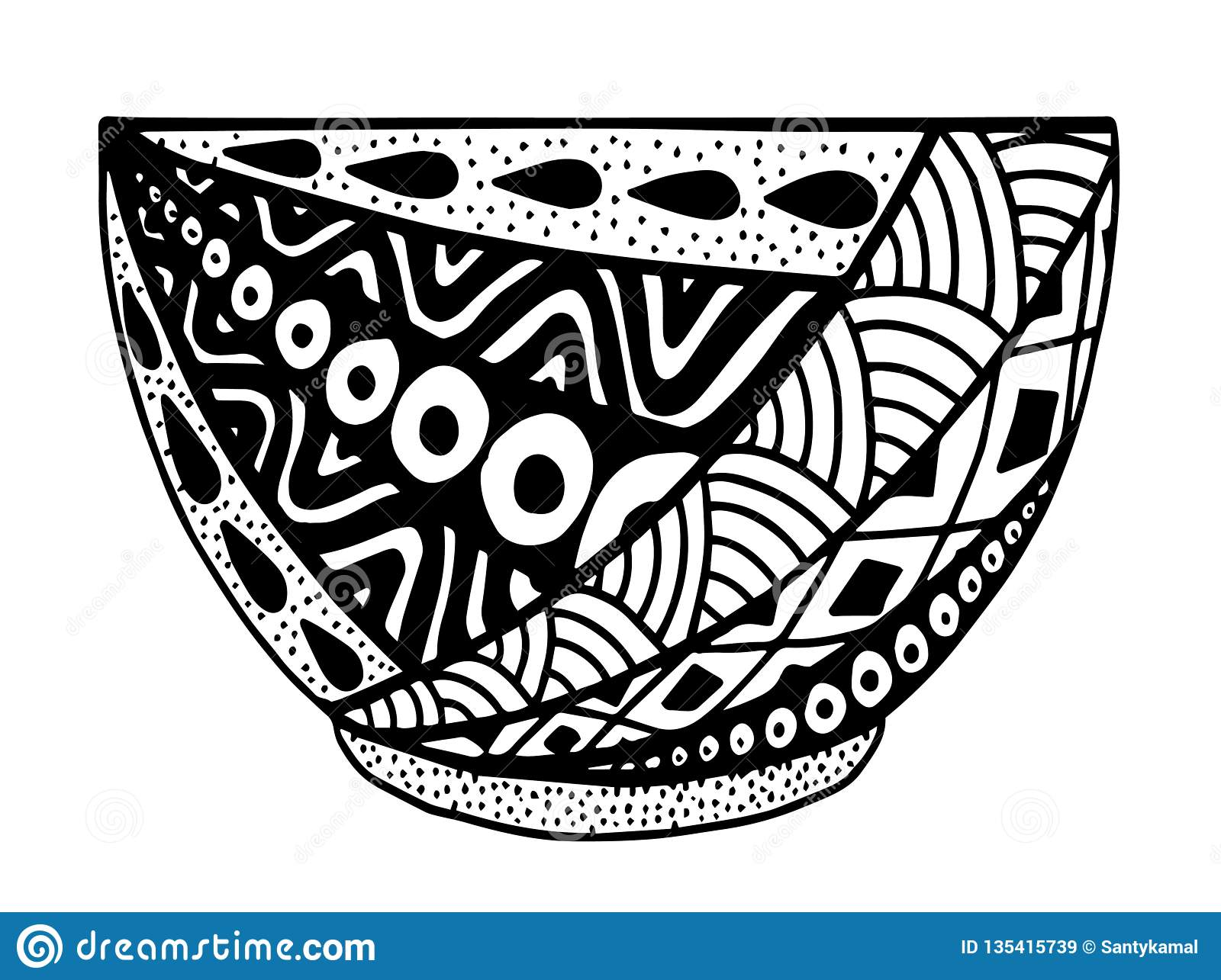 Black and white vector hand drawn bowl, doodle style illustration with ornament