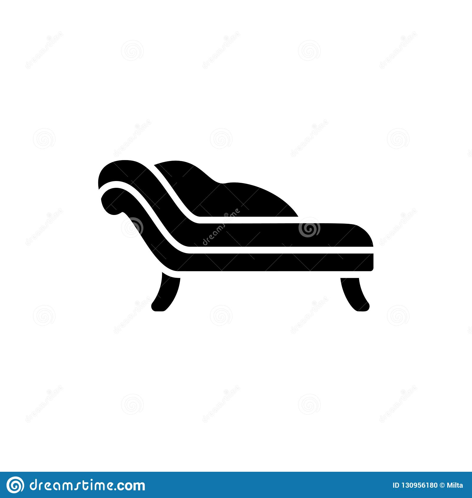 Black White Vector Illustration Of Chaise Lounge Sofa Flat Icon Of Settee Modern Home Office Furniture Isolated Object Stock Vector Illustration Of Small Classic 130956180