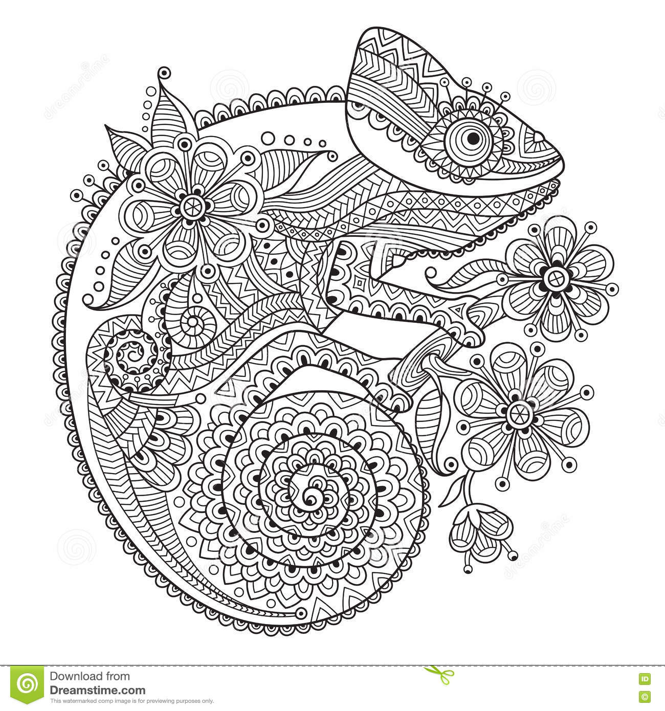 Black And White Vector Illustration With A Chameleon In