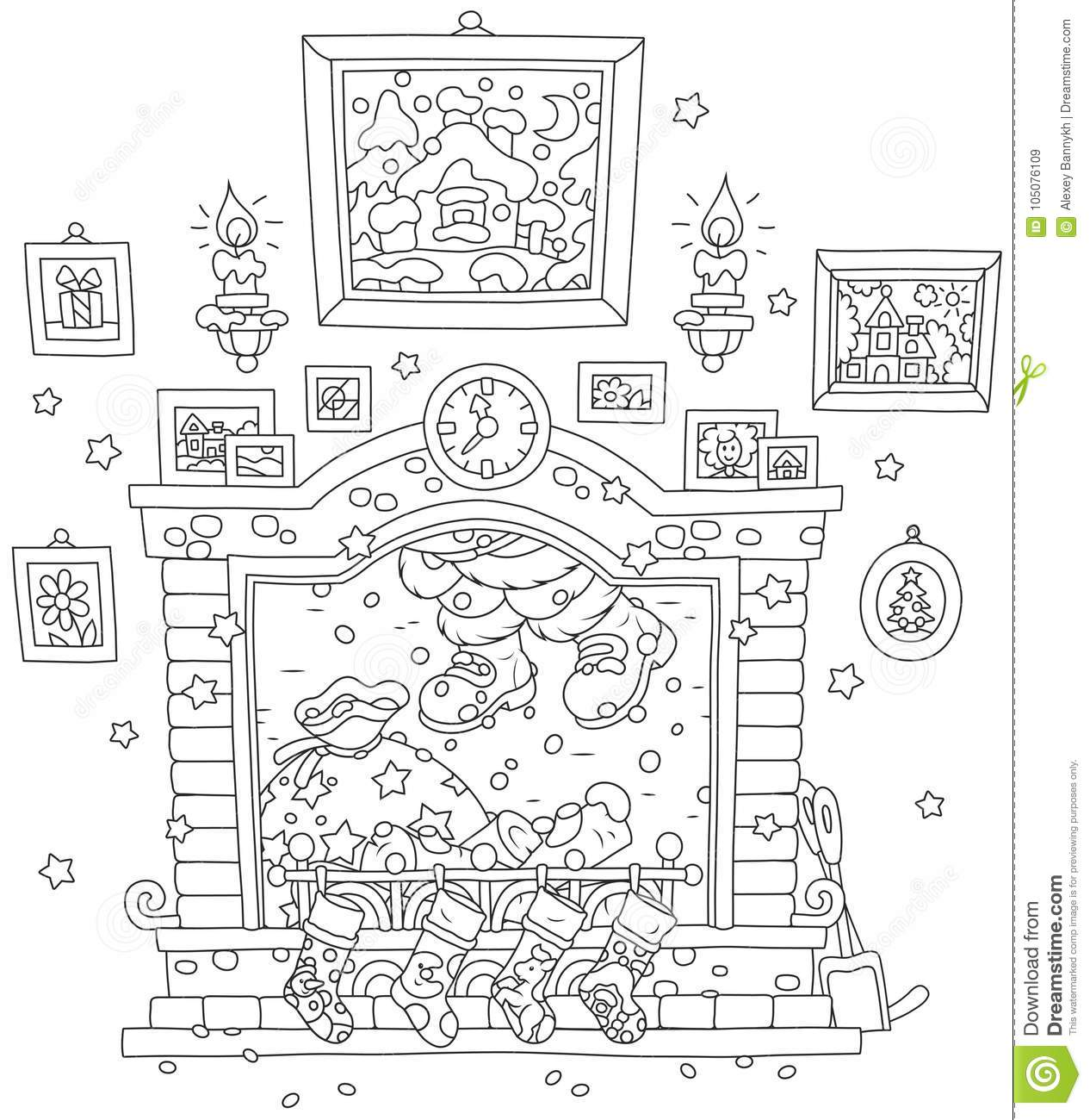 Wondrous Santa Coming Down The Chimney Stock Vector Illustration Of Download Free Architecture Designs Rallybritishbridgeorg