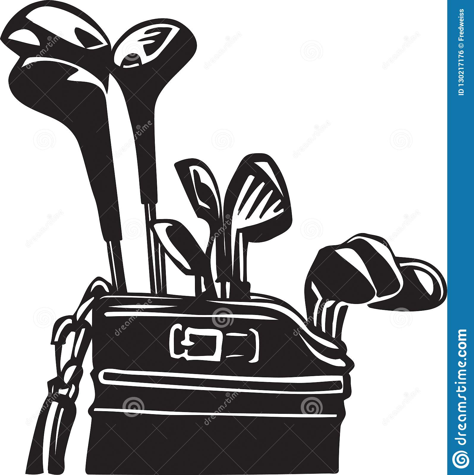 Black And White Golf Clubs And Bag Illustration Stock Vector Illustration Of Equipment Ball 130217176