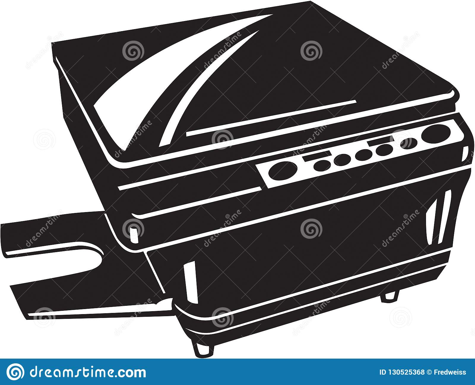 Black And White Photocopy Machine Illustration Stock Vector