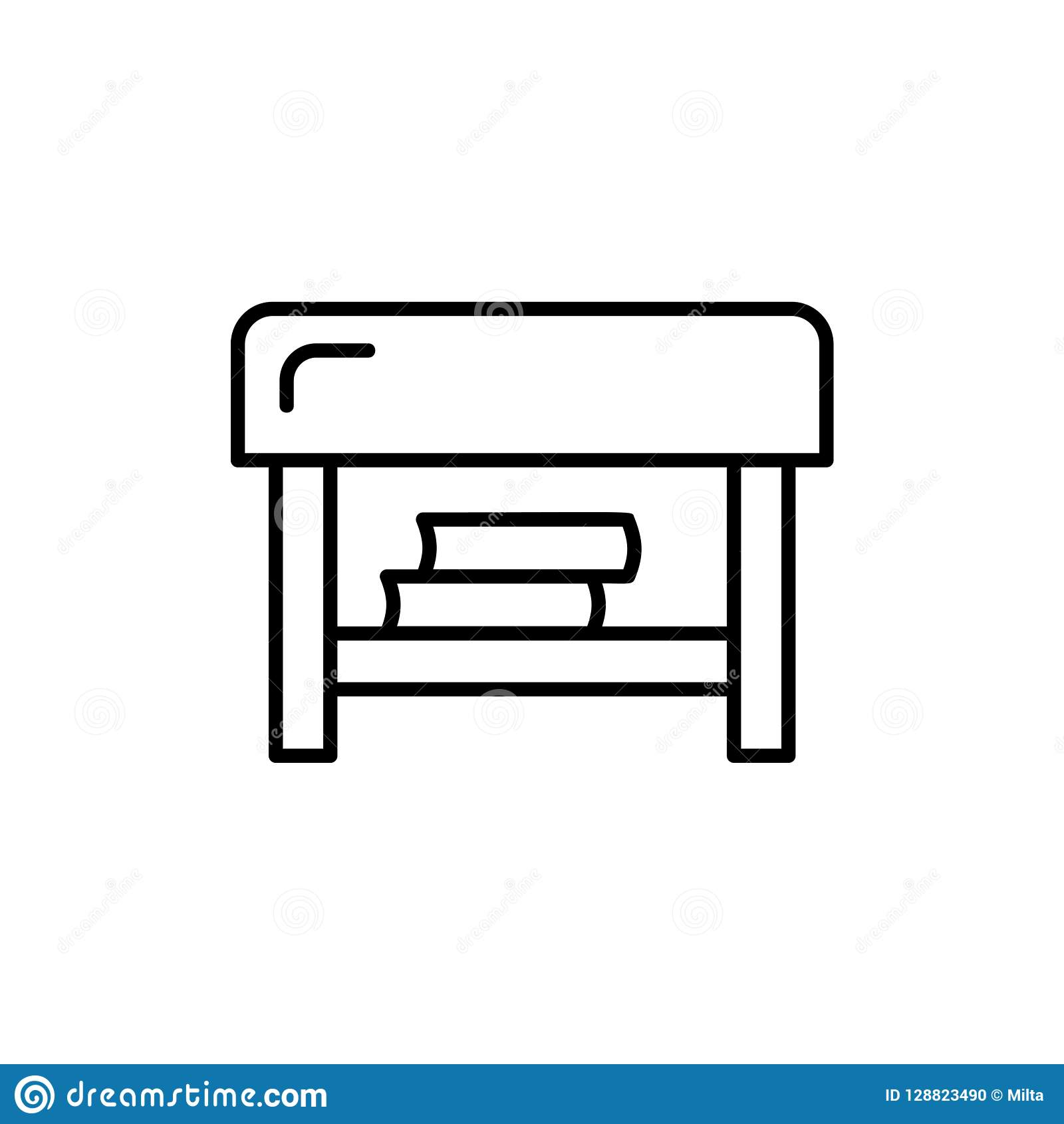 Incredible Black White Vector Illustration Of Square Ottoman Line Cjindustries Chair Design For Home Cjindustriesco