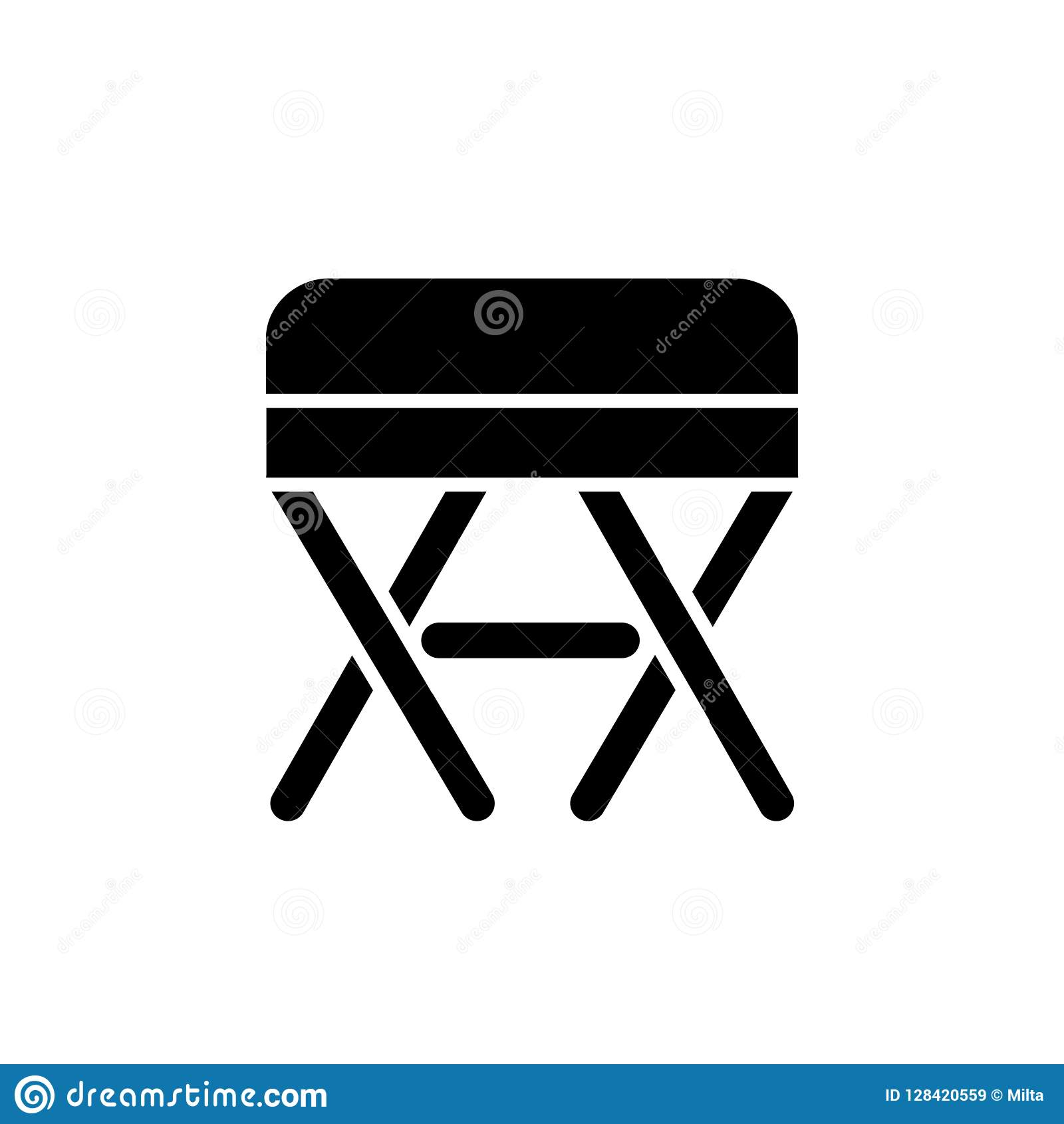 Astounding Black White Vector Illustration Of Square Ottoman Pouf Evergreenethics Interior Chair Design Evergreenethicsorg