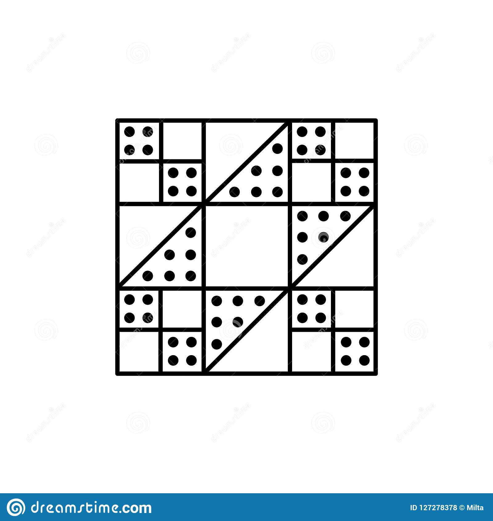 Black White Vector Illustration Of Stepping Stones Quilt Pattern