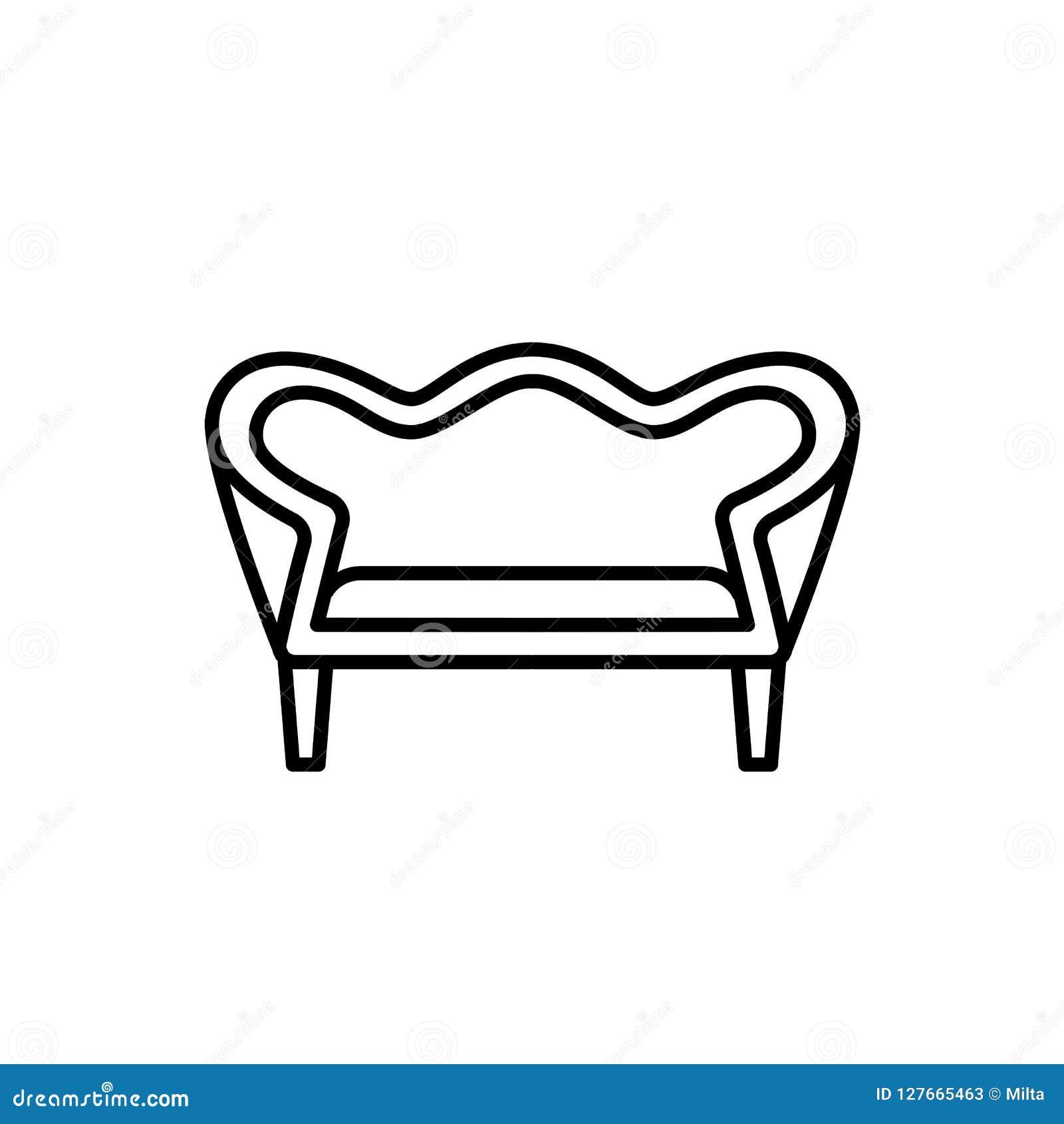 Groovy Black White Vector Illustration Of Vintage Loveseat Machost Co Dining Chair Design Ideas Machostcouk