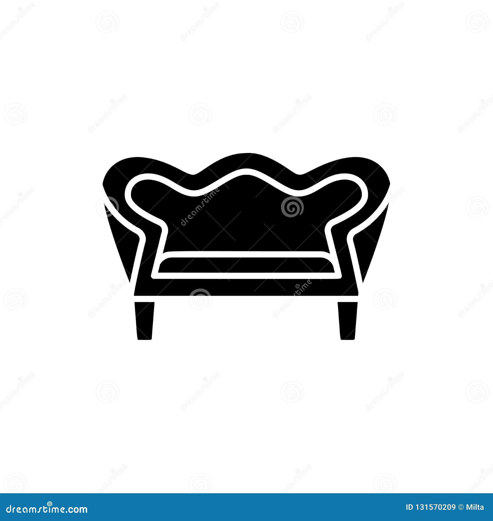 Fantastic Black White Vector Illustration Of Vintage Loveseat Machost Co Dining Chair Design Ideas Machostcouk