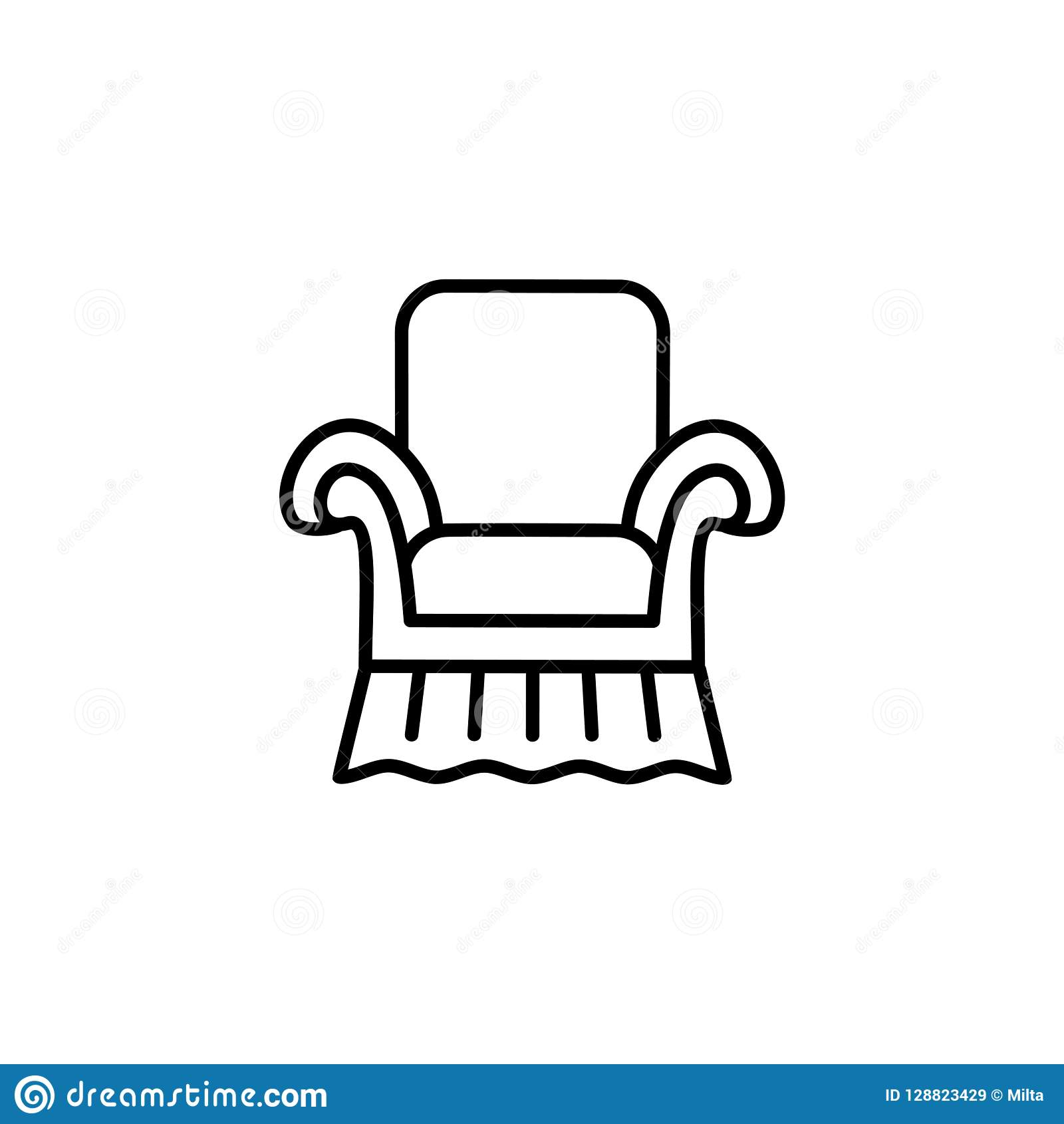 Strange Black White Vector Illustration Of Vintage Style Armchair Home Remodeling Inspirations Basidirectenergyitoicom