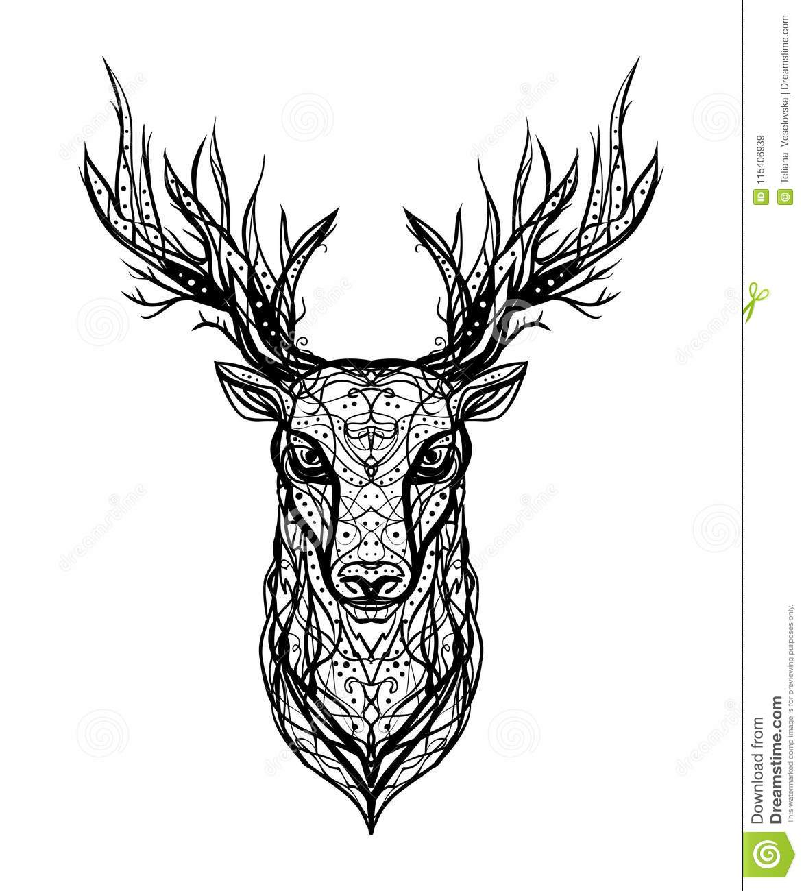 O Deer Black and white vector linear ink logo isolated head of a deer o