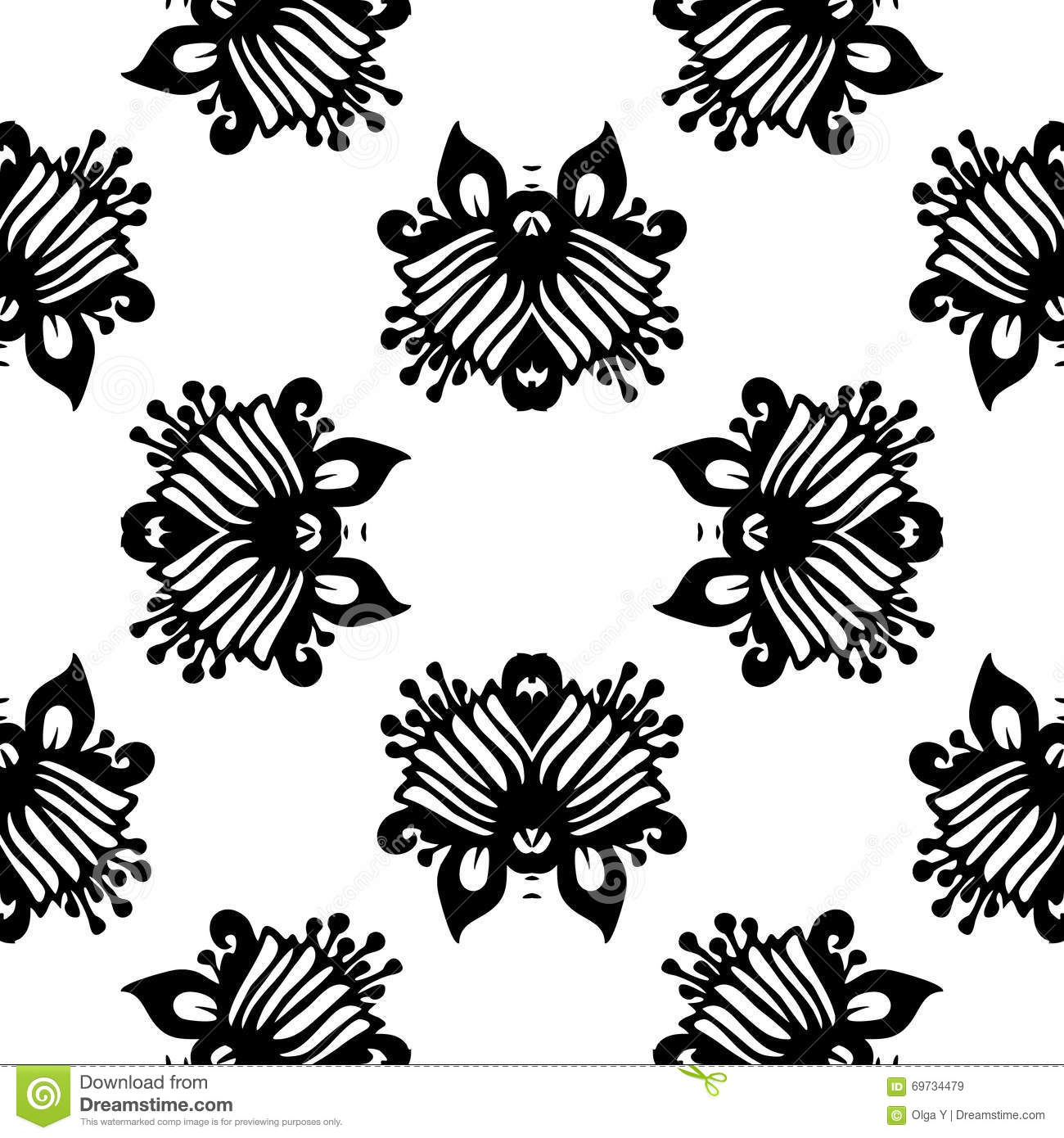 black and white vector seamless damask pattern stock
