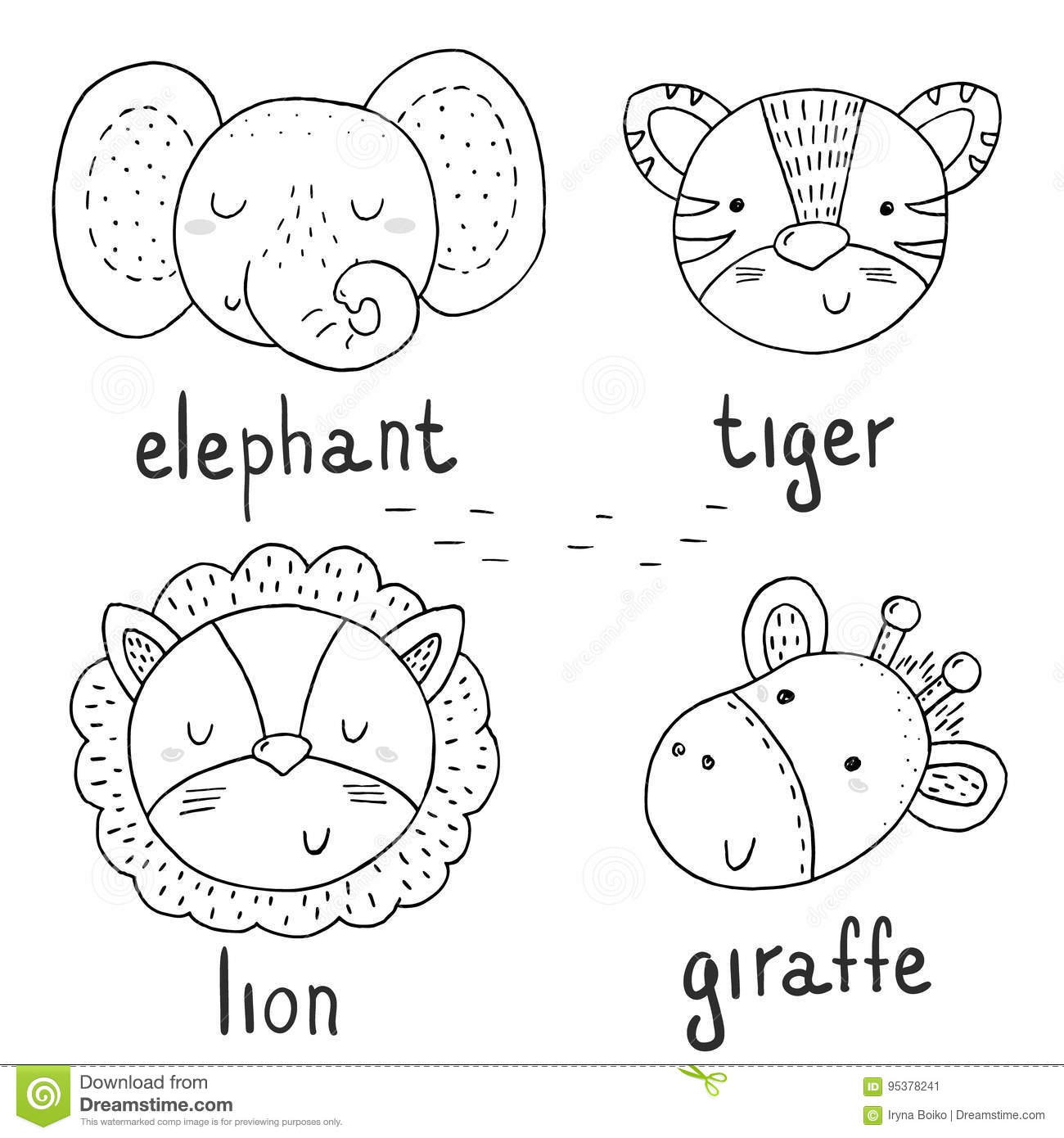 Black and white vector sketch of a cute animals vector