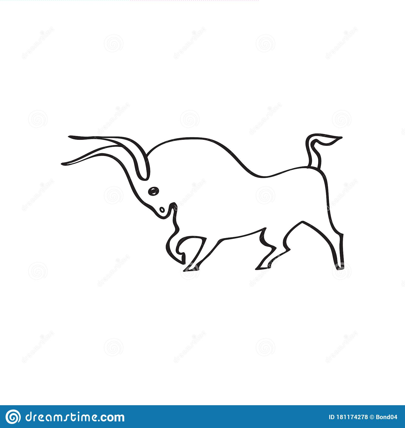 Black And White Vector Young Strong Bull Contour Stock