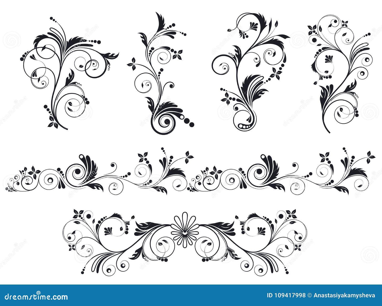 Black And White Vectore Curl Florish Vignette Set Stock Vector Illustration Of Flourish Decorative 109417998