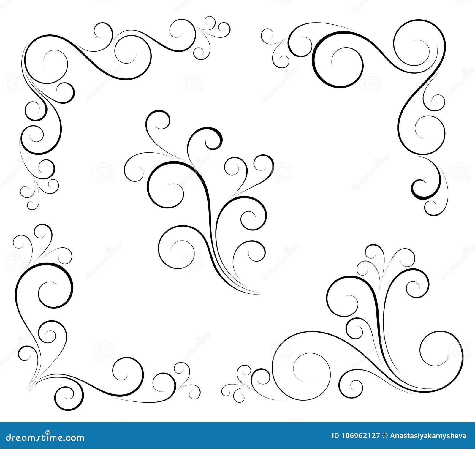 Black And White Vectore Curl Florish Vignette Stock Vector Illustration Of Vectore Style 106962127