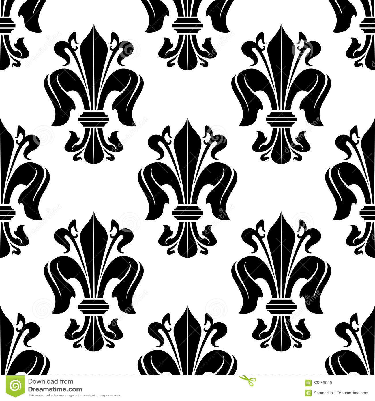 Black And White Victorian Floral Pattern Stock Vector Illustration
