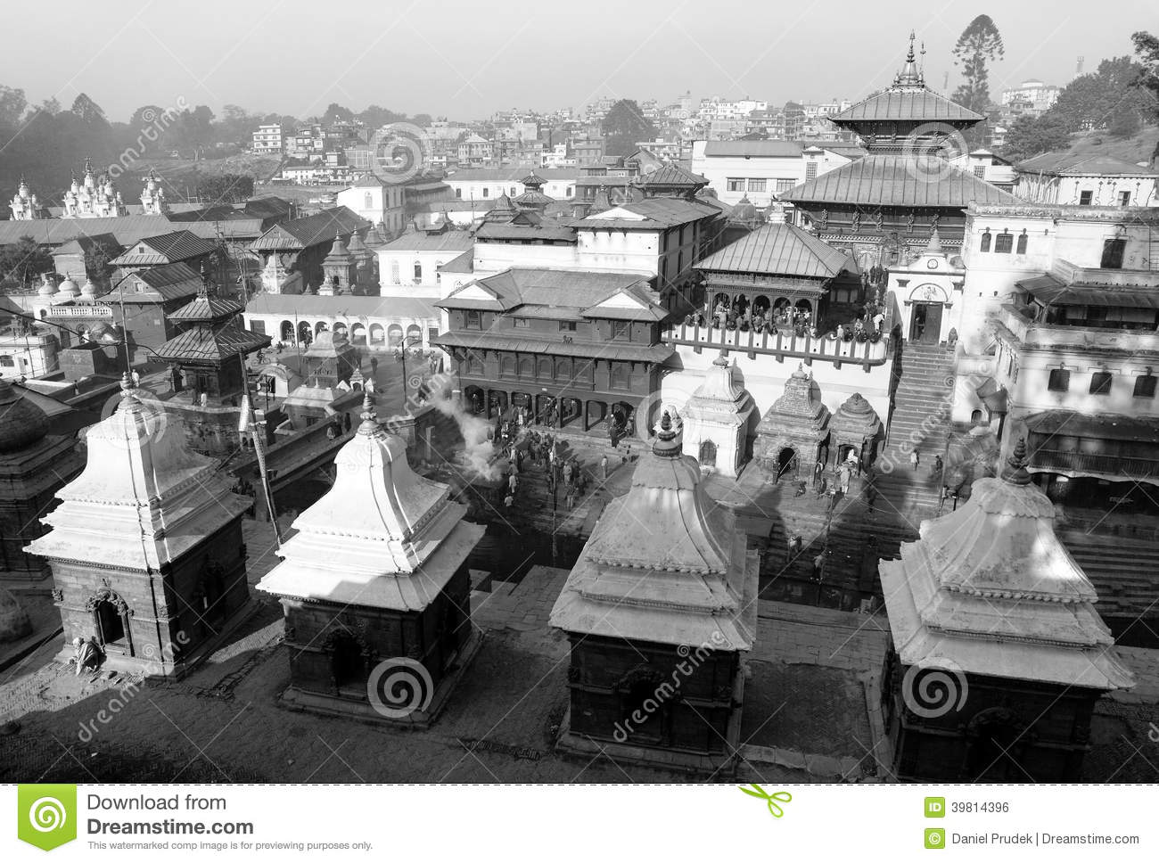 Black and white view of Pashupatinath