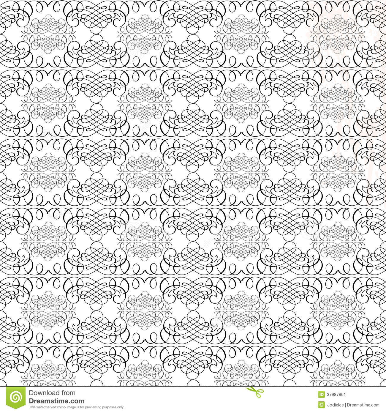 Black and white vintage calligraphy swirl repeat pattern