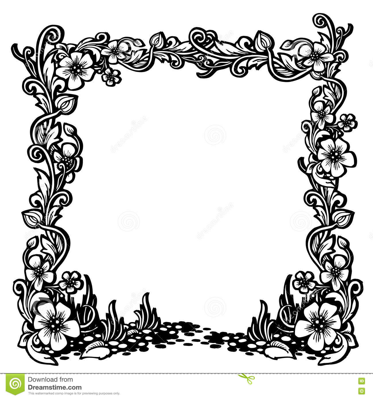 Black And White Vintage Frame With Floral Pattern. Stock ...