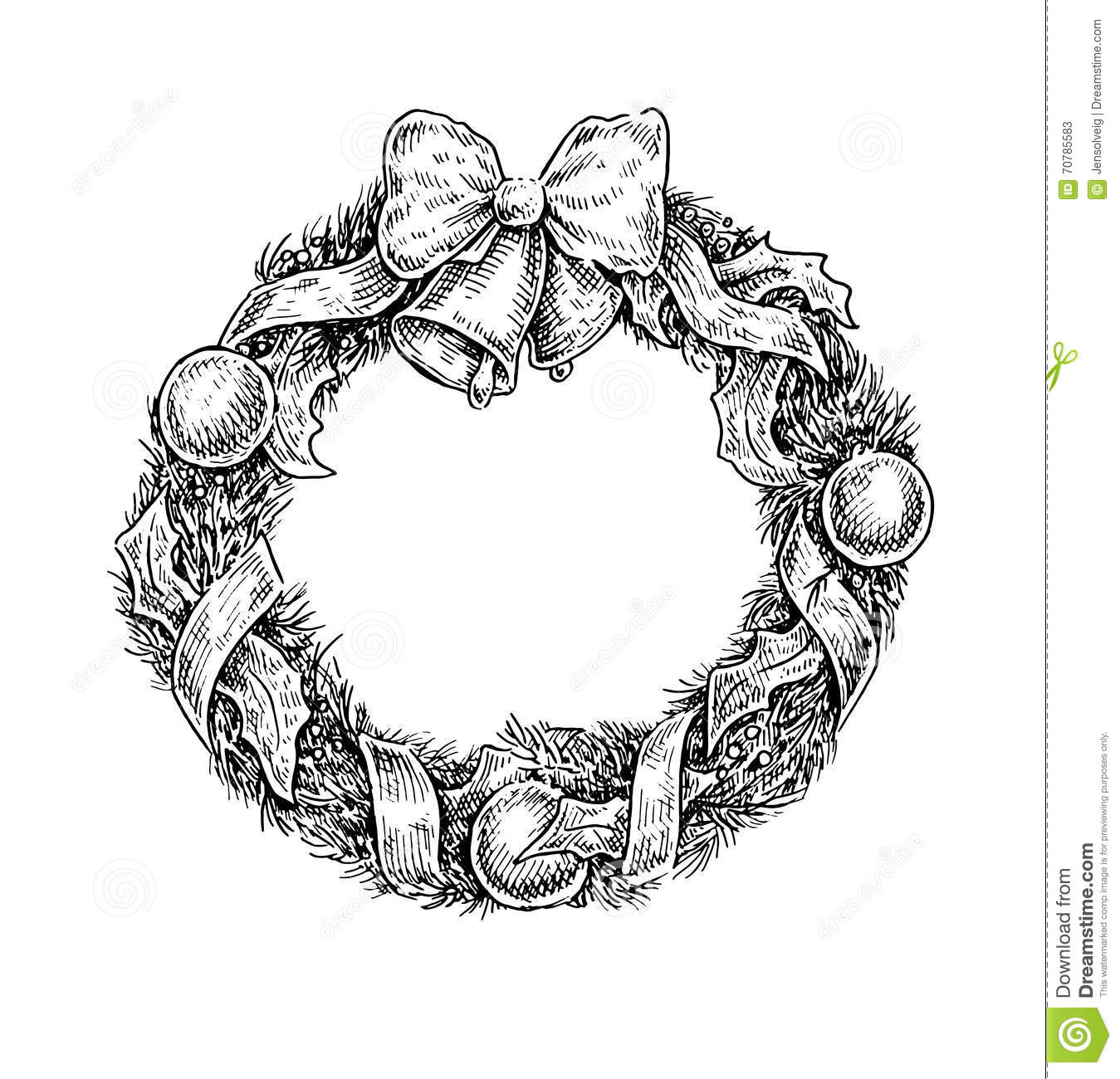 Black And White Vintage Sketchy Style Illustration Christmas Adornment