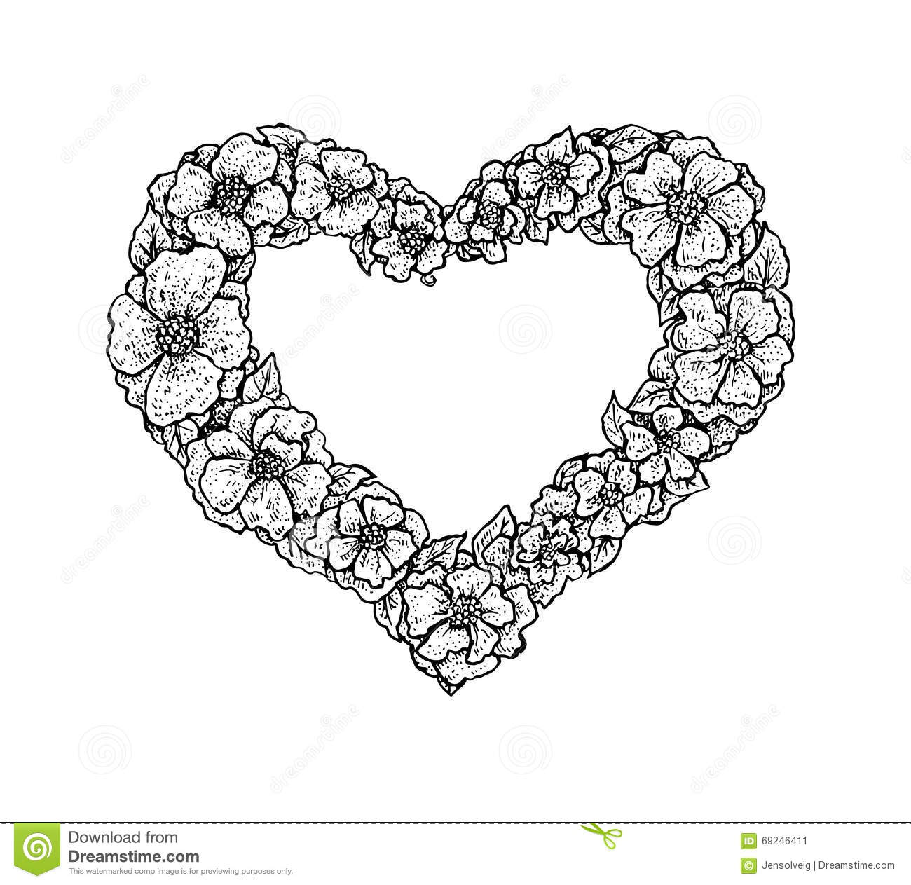 Black And White Vintage Style Floral Frame In A Shape Of A Heart ...