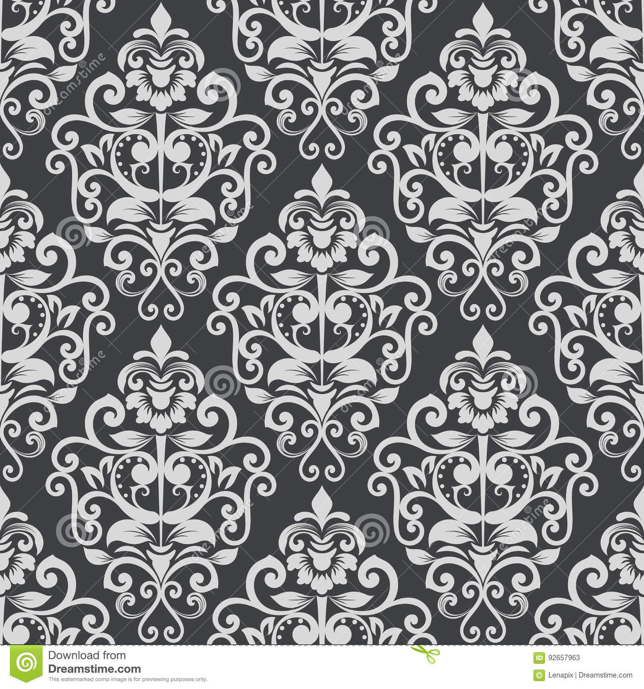Black And White Vintage Wallpaper Pattern. Stock Vector ...
