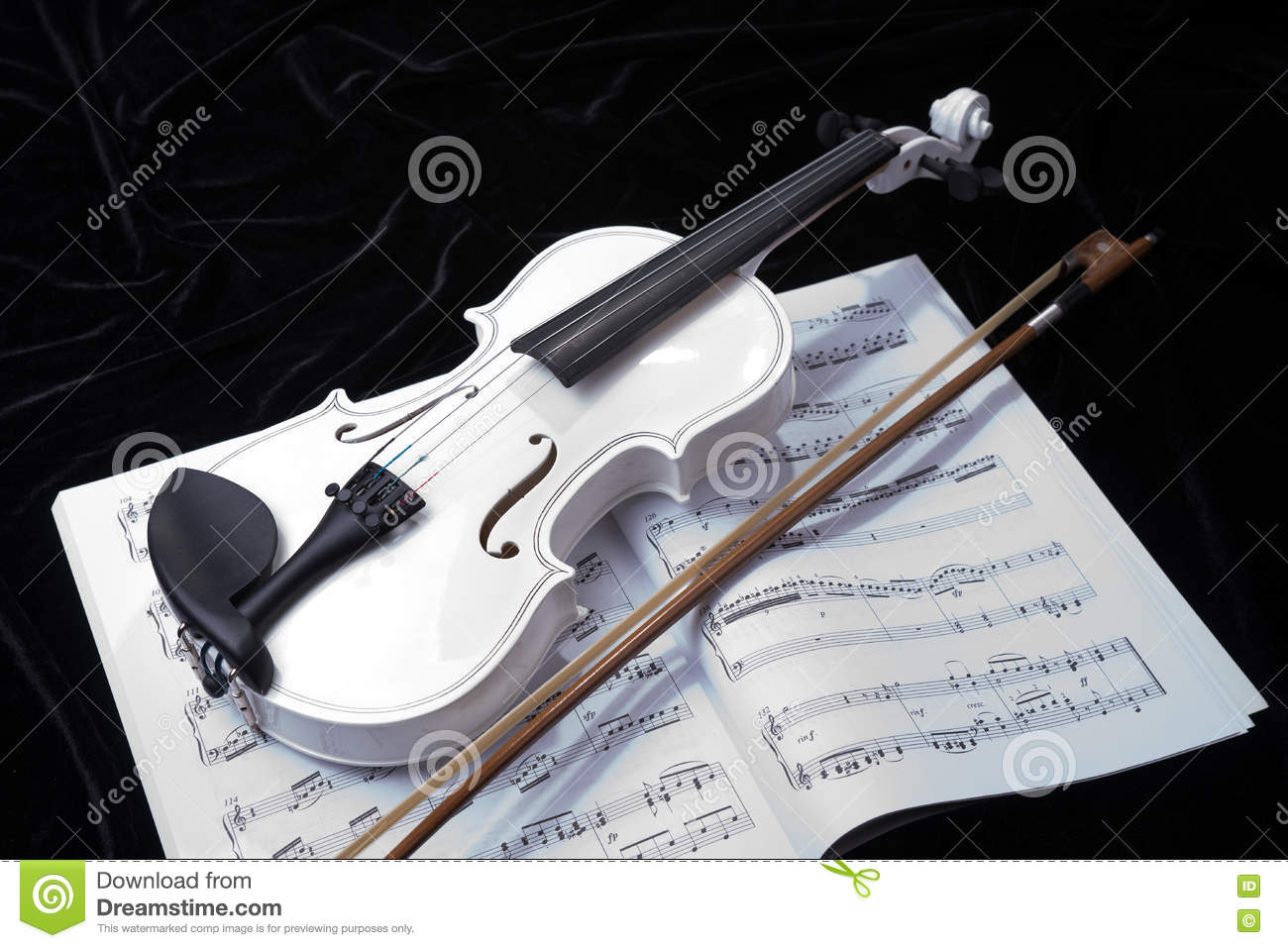 Black And White Violin With Music Notes Stock Photo ...