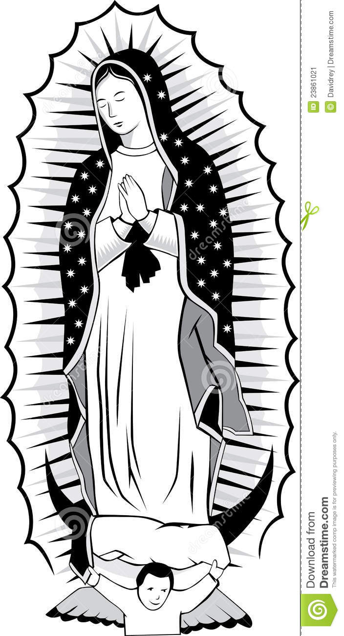 Black White Virgin Guadalupe