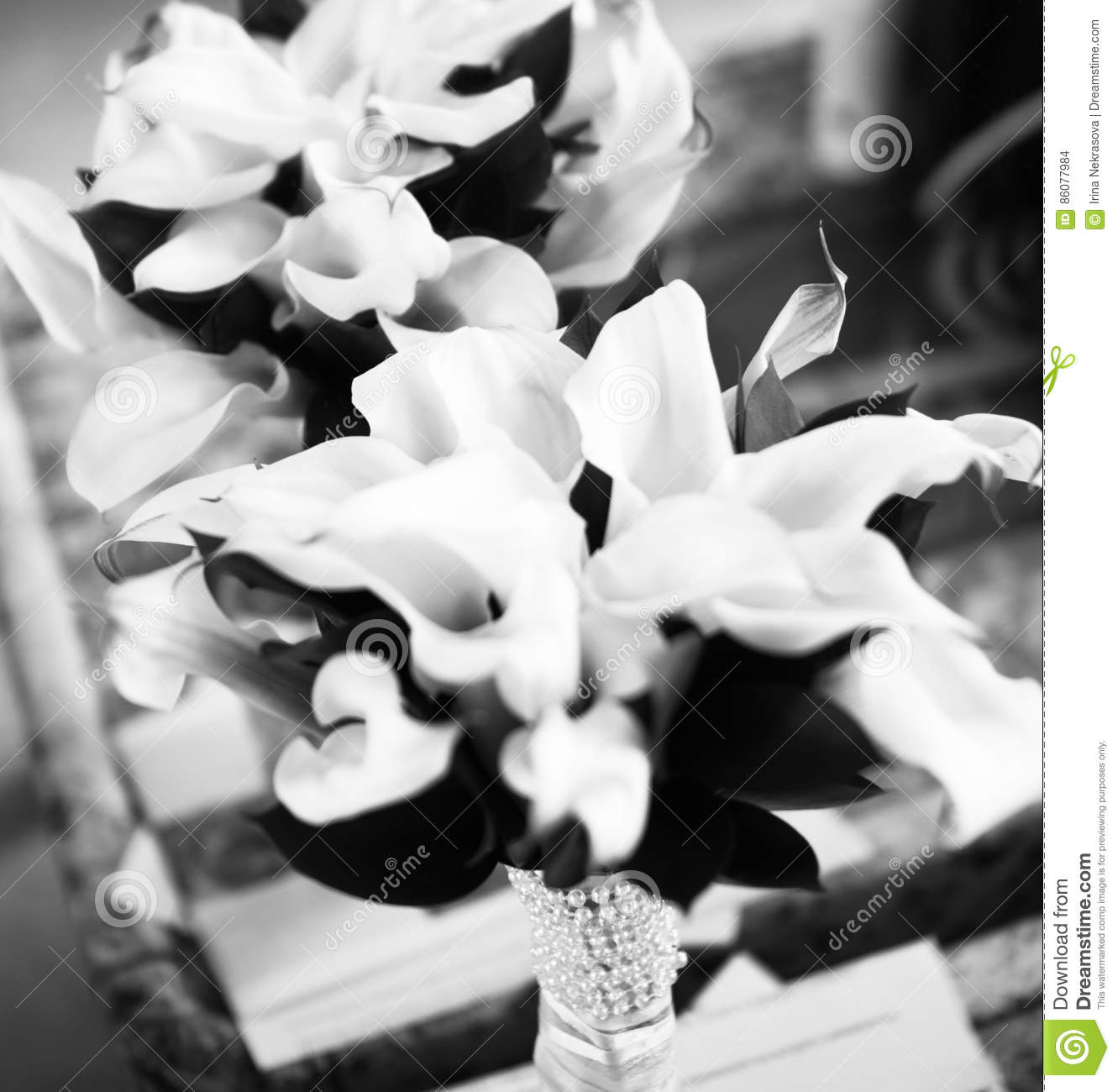 Black And White Wedding Bouquet Of Callas Flowers Stock Photo