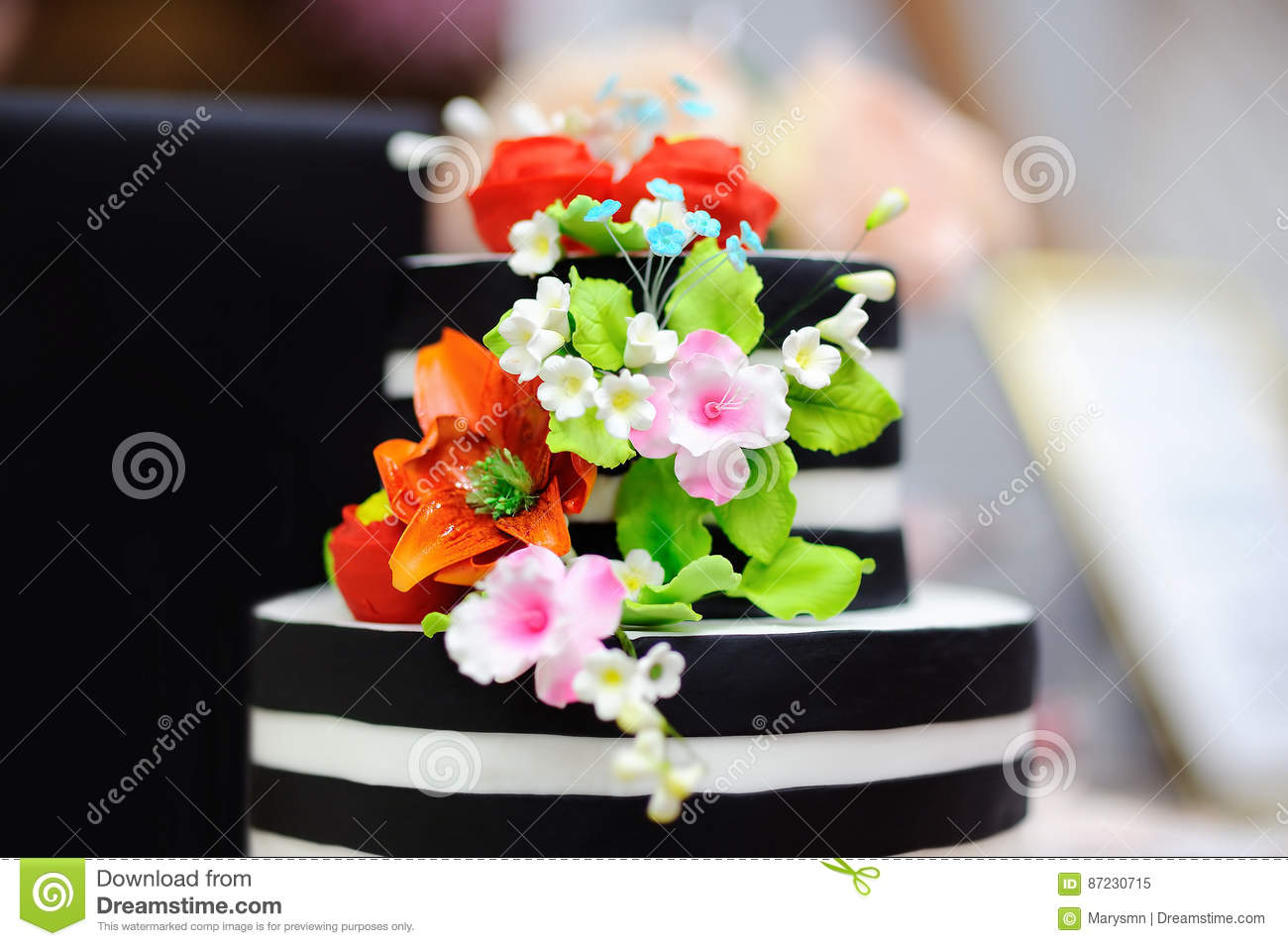 Black and white wedding cake decorated with sugar flowers stock download black and white wedding cake decorated with sugar flowers stock image image of closeup mightylinksfo