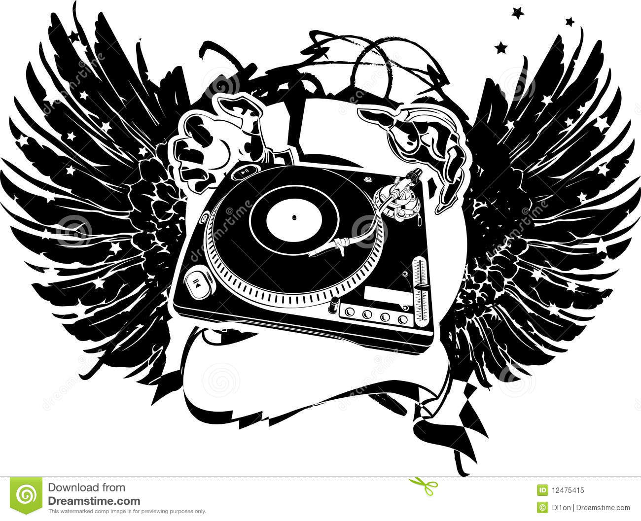 Black And White Wings Dj Flayer Stock Vector Illustration Of