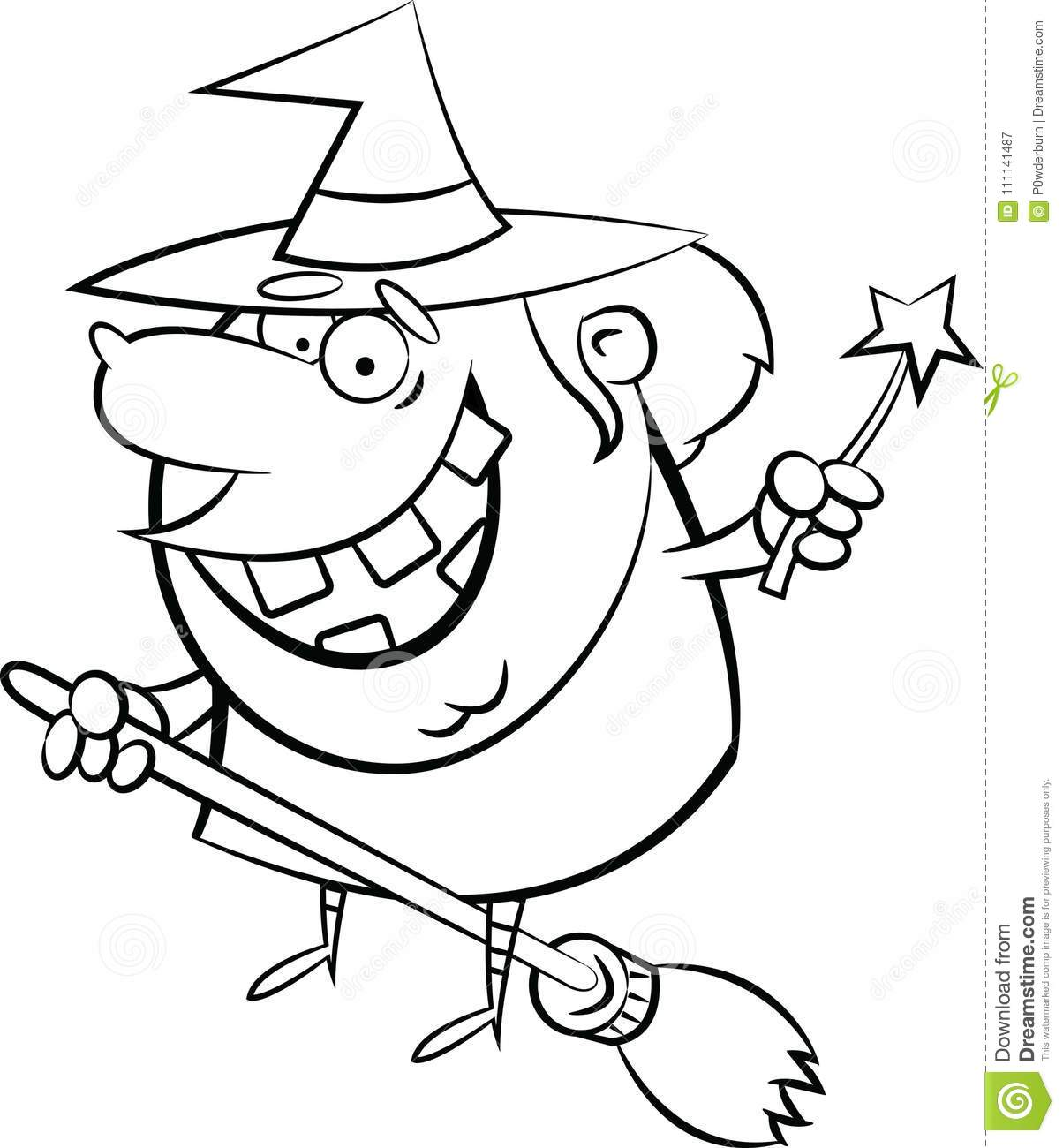 Halloween Coloring Page B&W Witch On A Broom Stock Vector ...