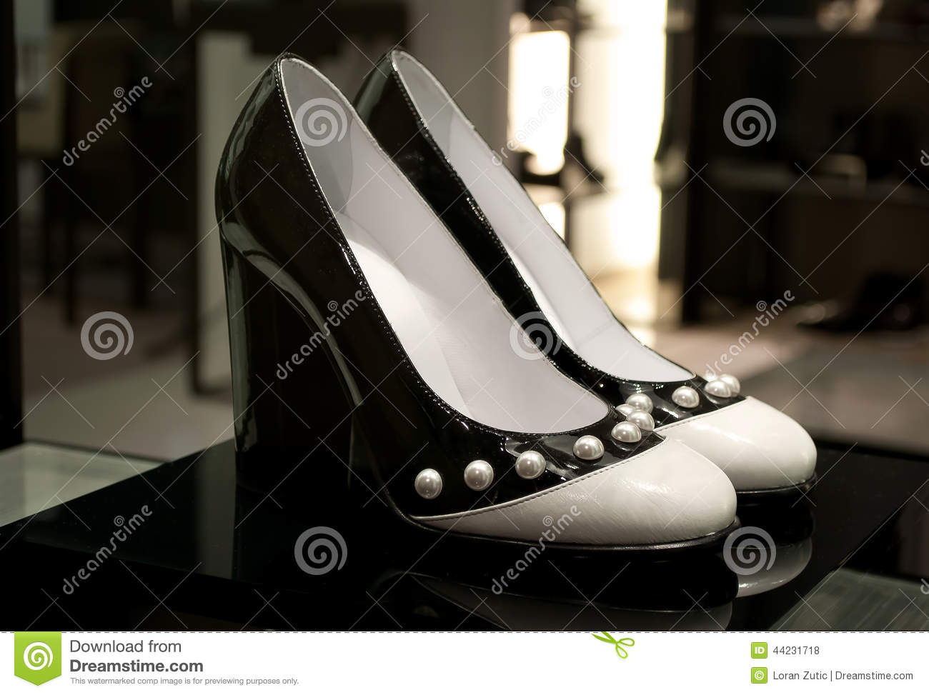 Womens Black And White High Heels