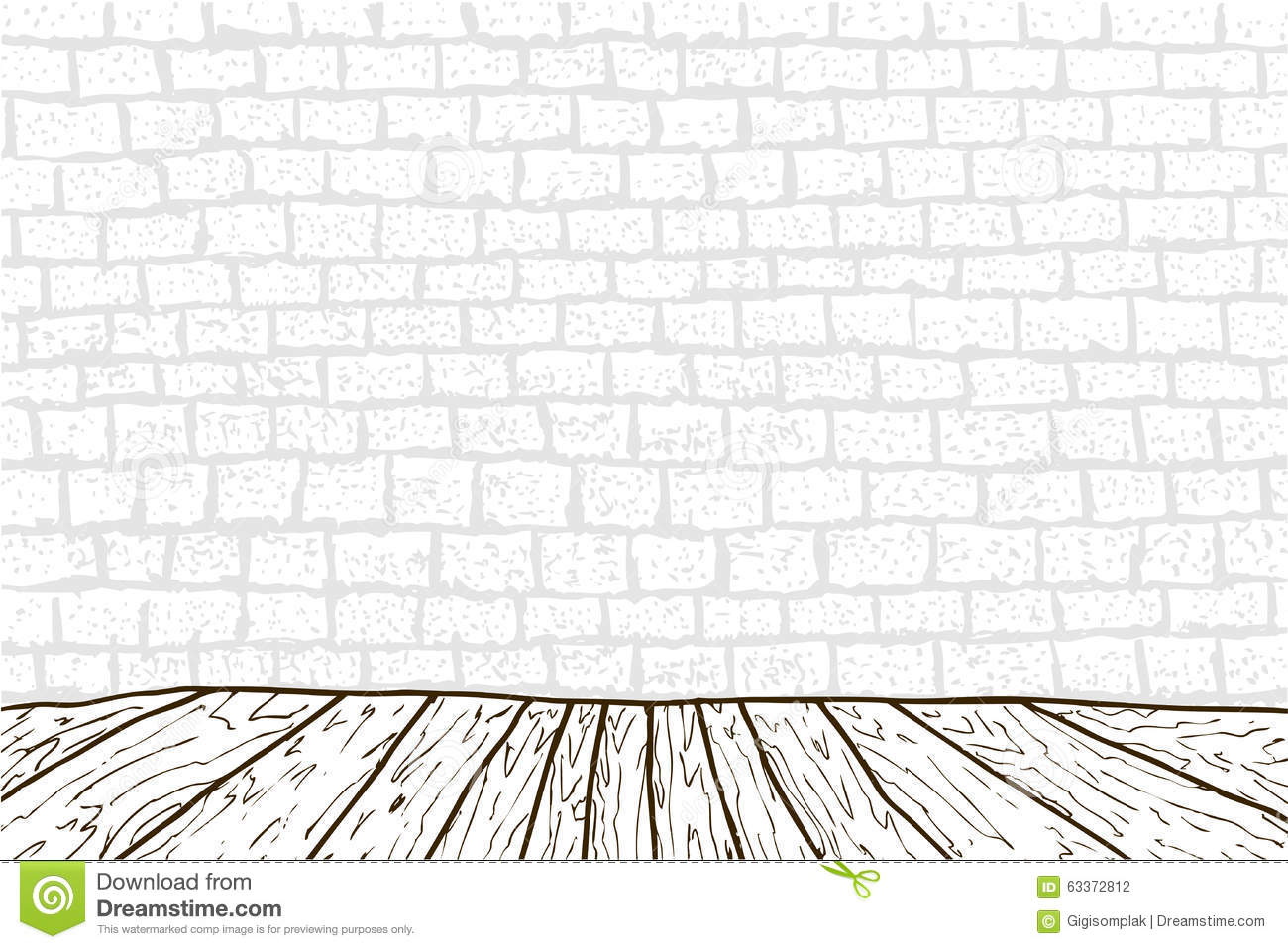 Brick Vector Picture Brick Veneers: Black And White Wooden Floor And Brick Wall Stock Vector