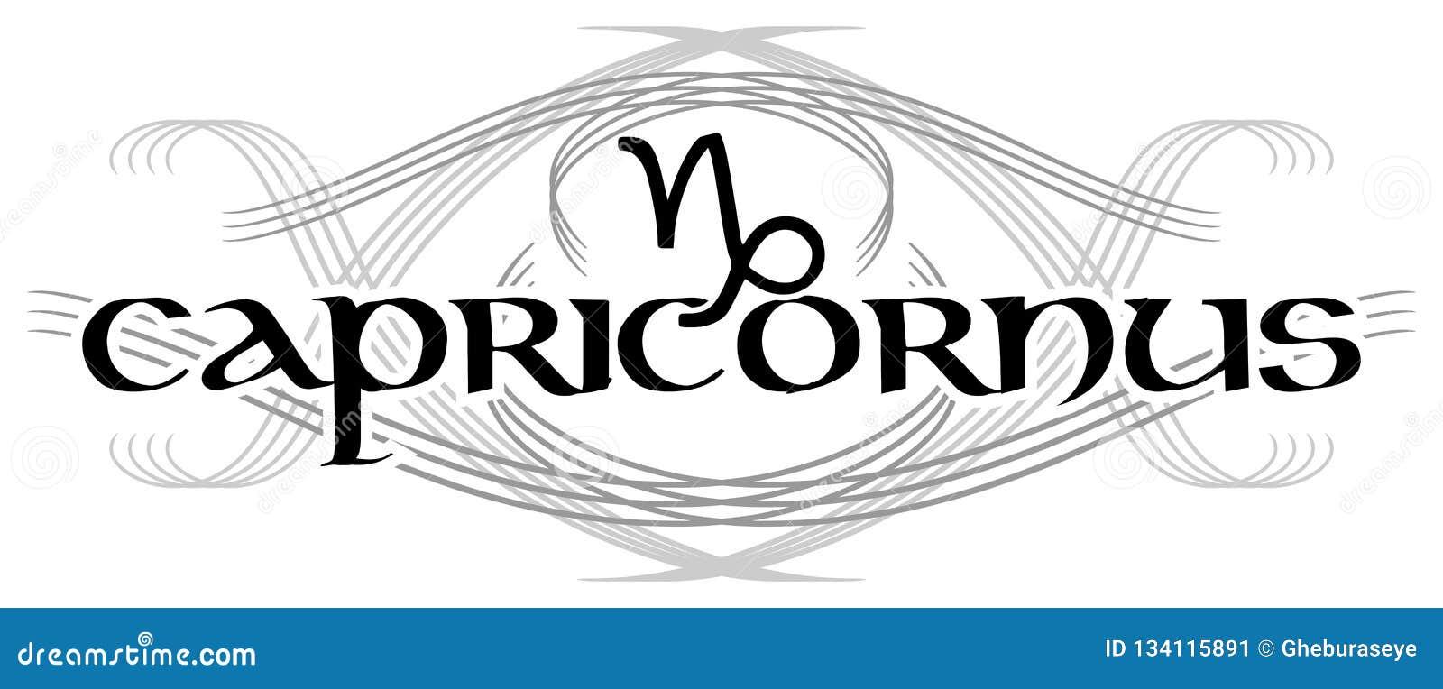 Black and white word capricornus tattoo isolated