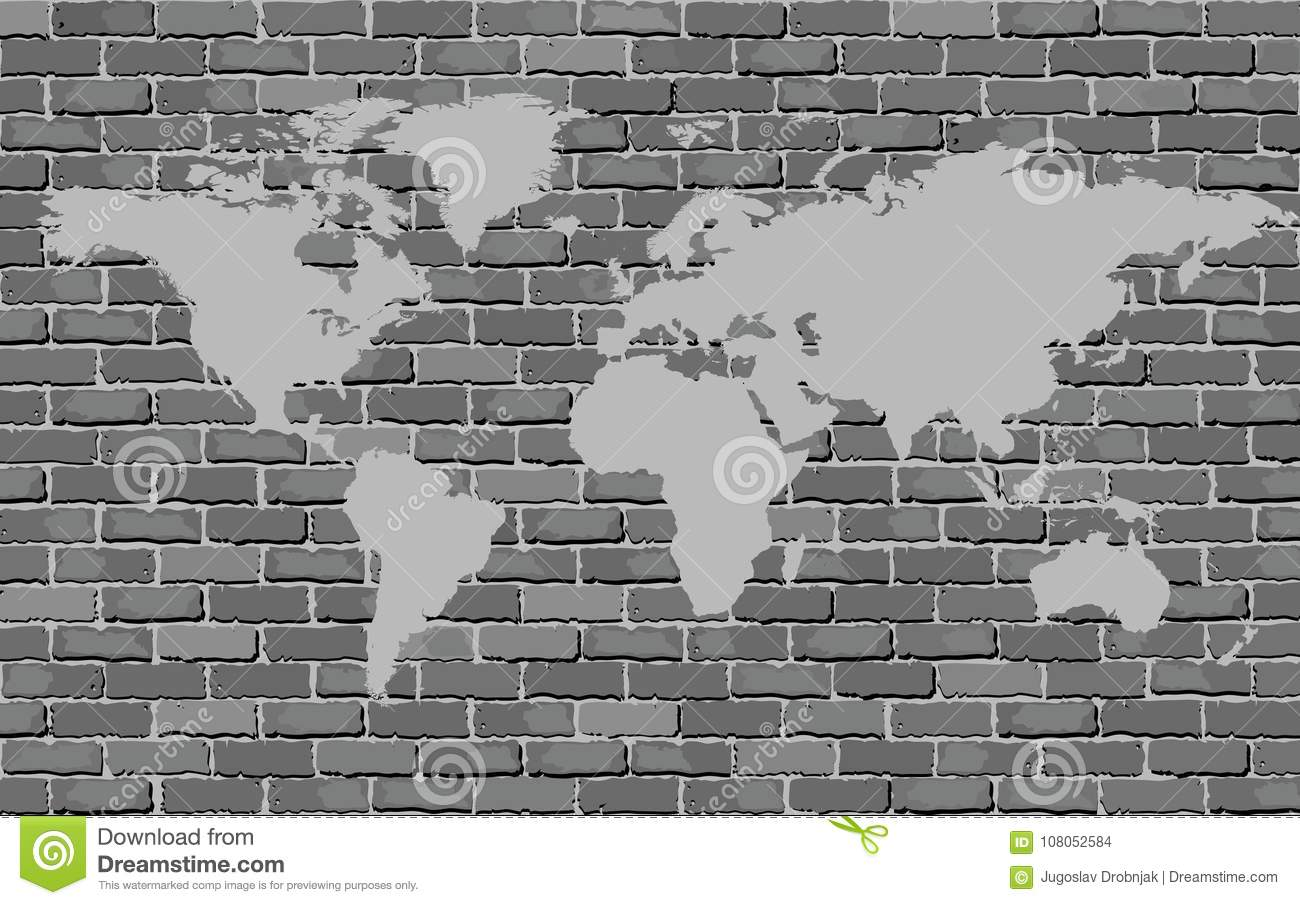 Black and white world map on a brick wall stock vector royalty free stock photo gumiabroncs Gallery