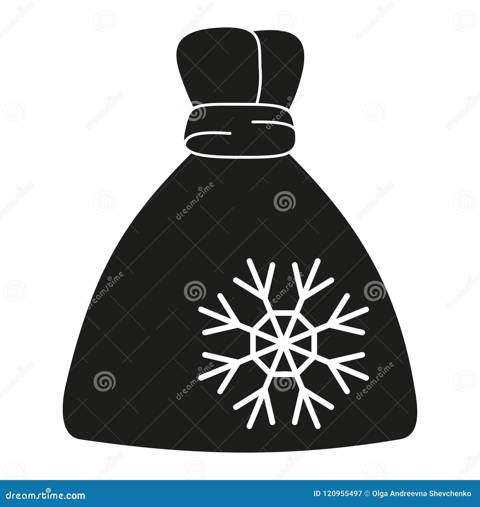 Black And White Xmas Gift Bag Silhouette Stock Vector Illustration Of Printable Full 120955497