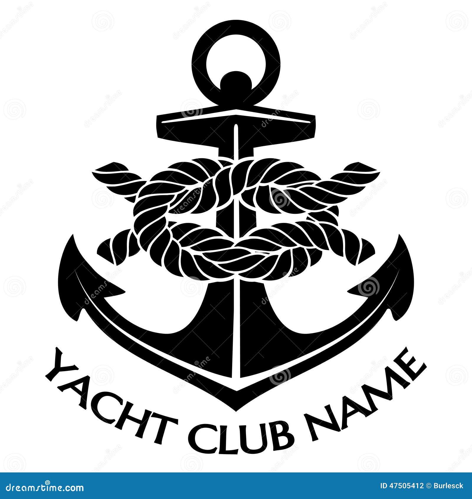 and White Yacht Club Logo  Yacht Club Logo Design