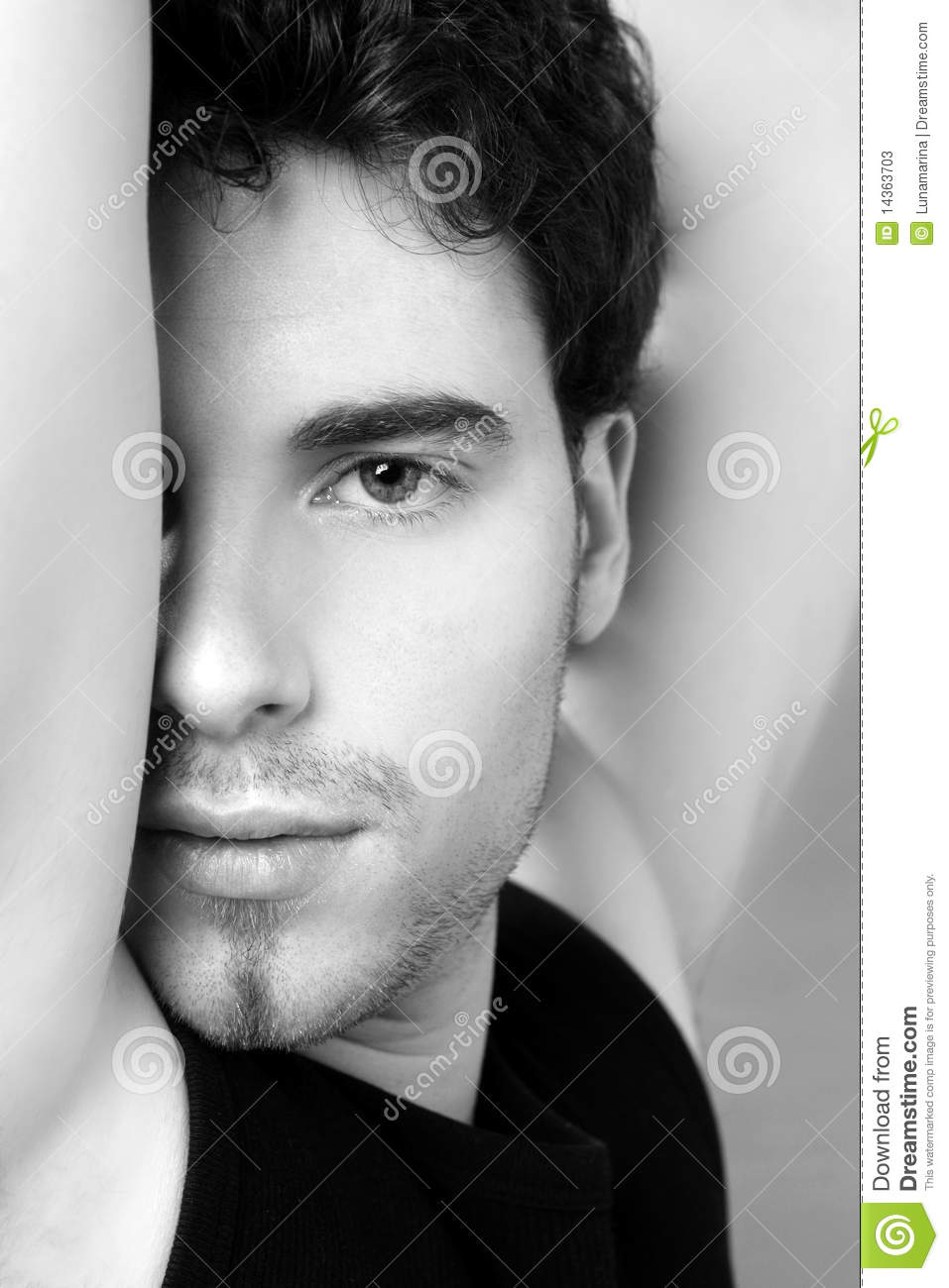 Black And White Young Man Face Portrait Stock Photos