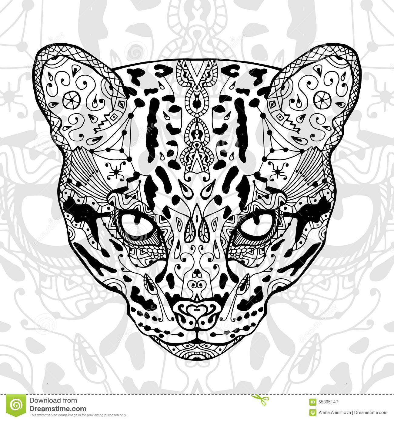Zen cat coloring page - The Black And Wild Cat White Print With Ethnic Zentangle Patterns Coloring Book For Adults