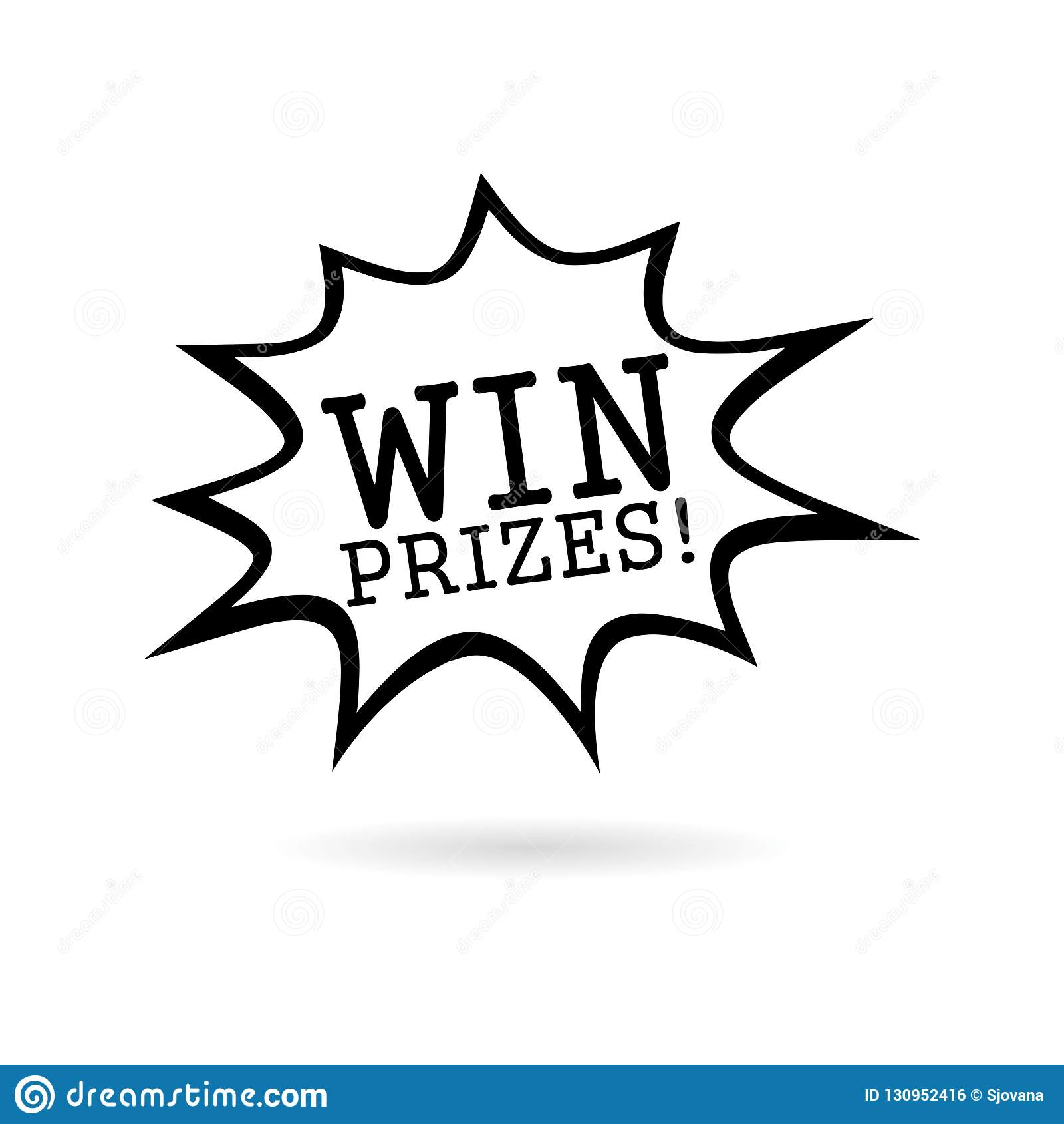 Black Win Prizes! Win Prizes Icon Or Logo Stock Illustration