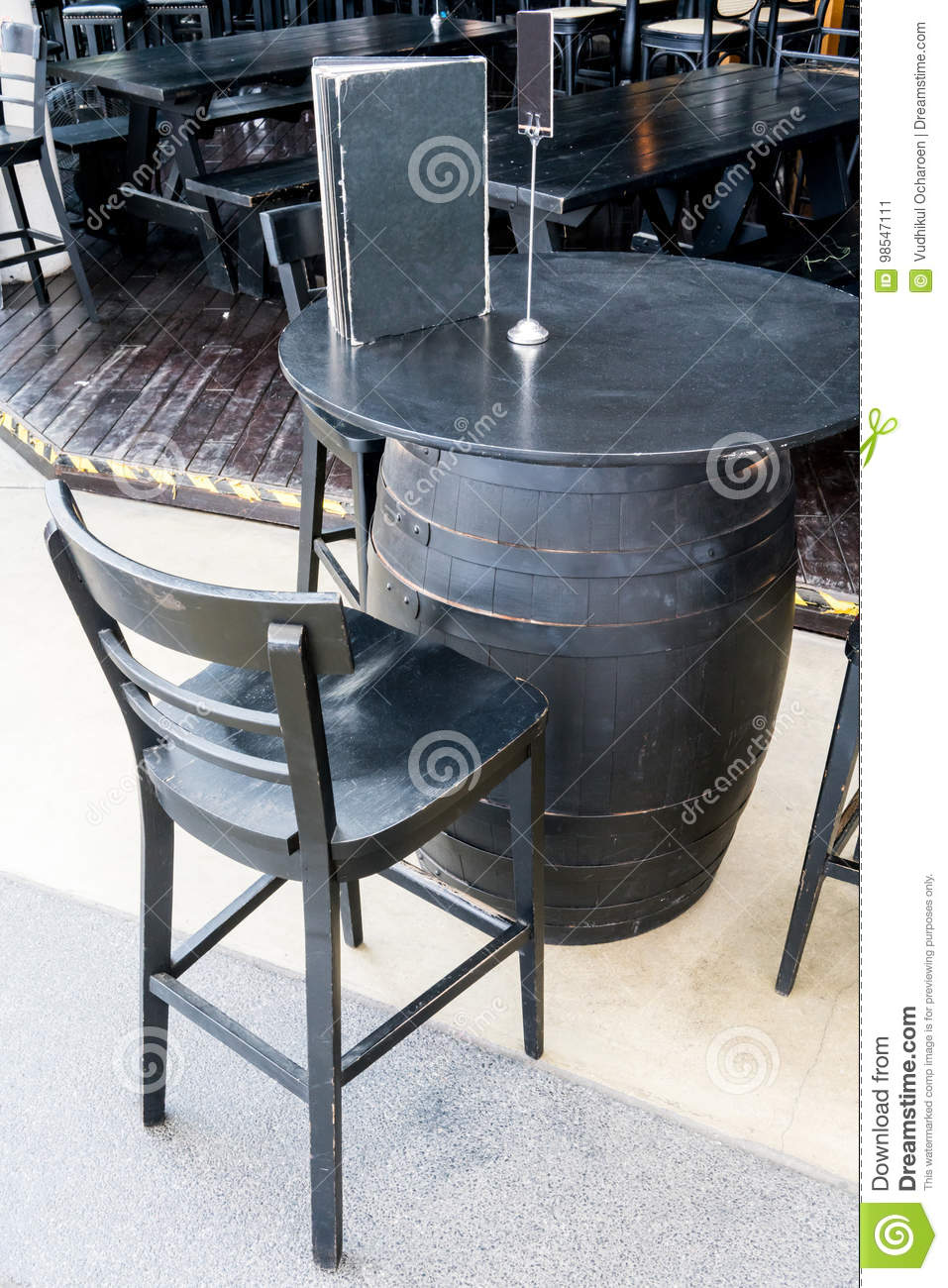 Astonishing Black Wine Barrel Table With Wooden Seat Stools Stock Image Forskolin Free Trial Chair Design Images Forskolin Free Trialorg
