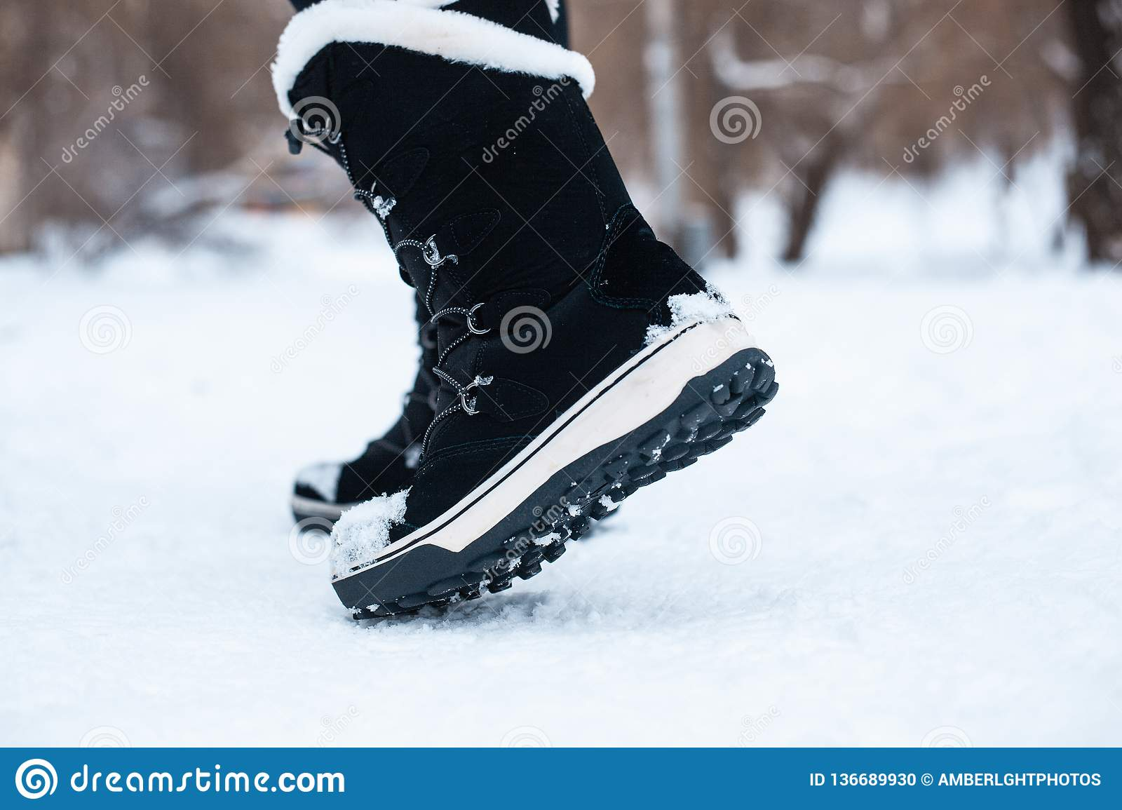 Black Winter Women`s Boots With White