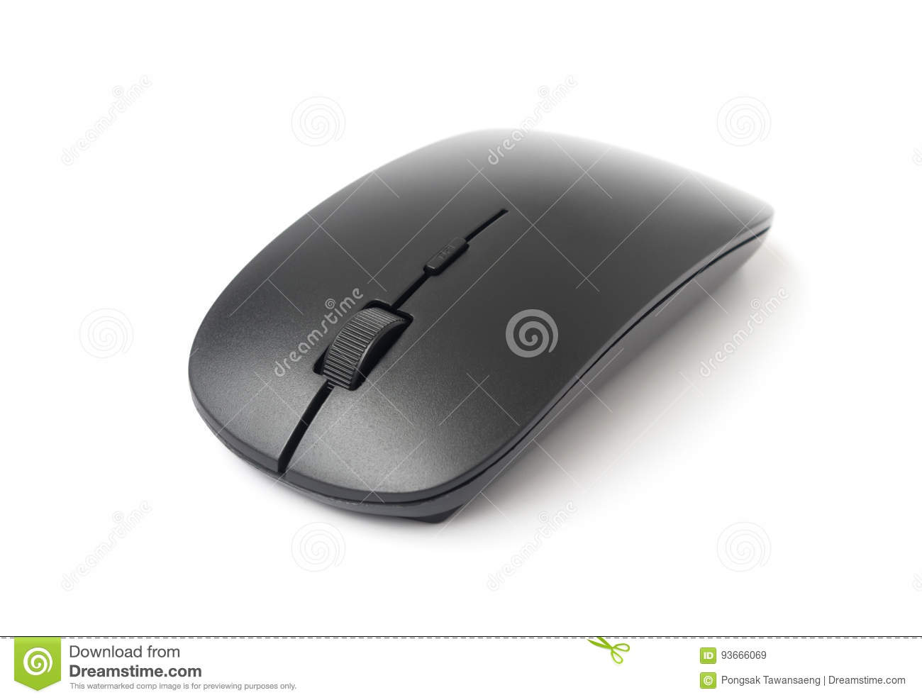 Black wireless computer mouse on white background, technology co