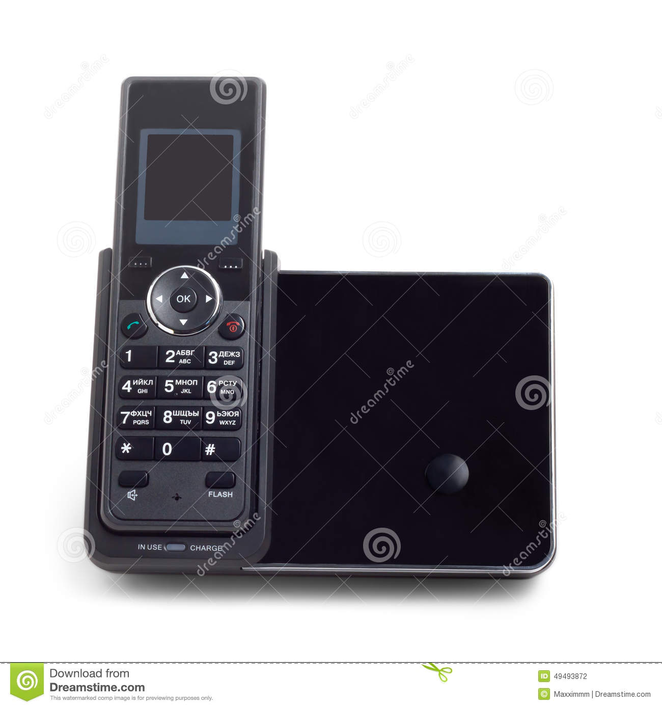 Black wireless cordless phone isolated on a white